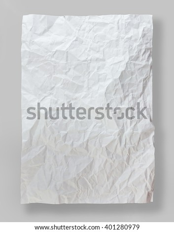 Piece of full page white paper background, folded and battered, isolated on gray background