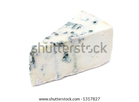 Piece of gorgonzola cheese on white background