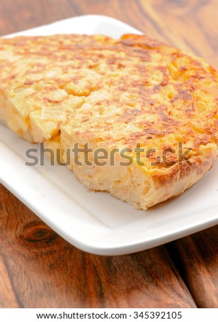 piece of homemade Spanish potato omelet