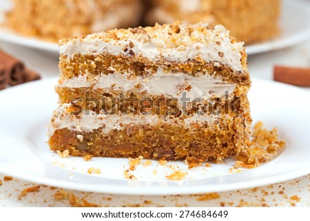 Piece of homemade tasty carrot sponge cake with pastry cream on white plate - stock photo