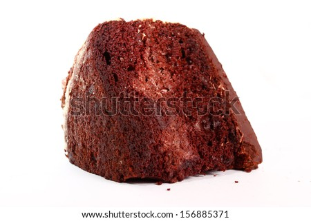 piece of isolated chocolate cake on white background
