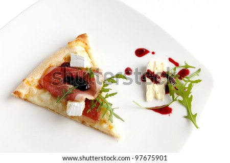 Piece of italian pizza. Healthy food on white background - stock photo