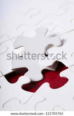 piece of jigsaw puzzle - stock photo