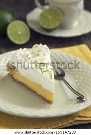 Piece of key lime pie - stock photo