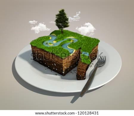 piece of land like a dish on a plate - stock photo