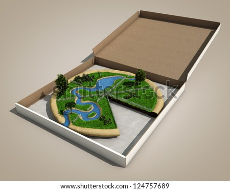 piece of land like a pizza - stock photo