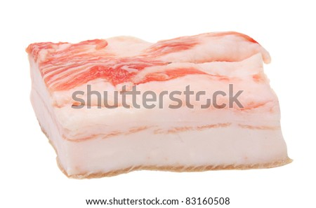 piece of lard isolated on white - stock photo