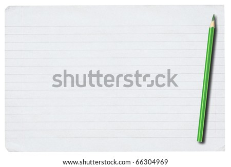 piece of lined paper and pencil isolated on pure white background - stock photo