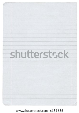 piece of lined paper isolated on pure white background - stock photo