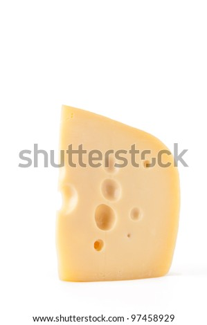 Piece of Maasdam cheese, isolated over white