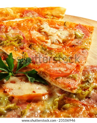Piece of Meat Pizza with Tomato. Isolated on White Background