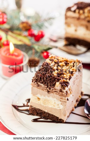 Piece of meringue cake with chocolate