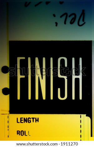 Piece of 35 mm motion film with the word 'finish' on it - stock photo