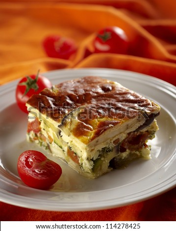 Piece of moussaka made of chopped eggplant