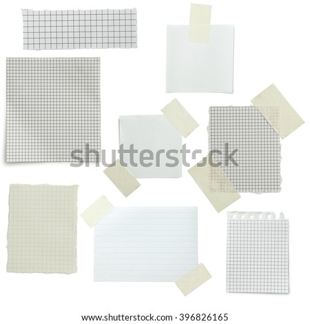 Piece of note paper on white background, collage - stock photo