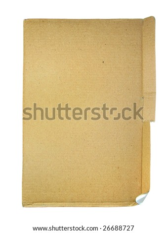 Piece of old cardboard isolated over white background - stock photo