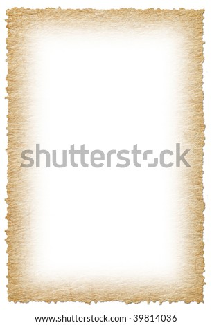 piece of old paper against white background - stock photo