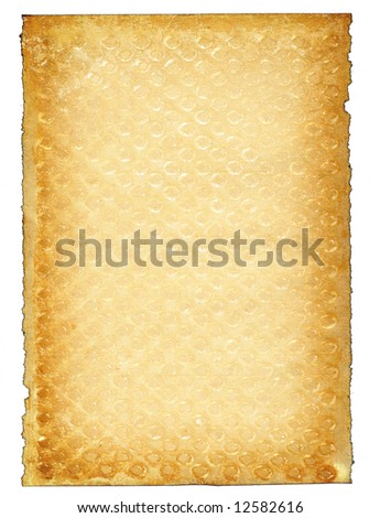 piece of old paper page against white background, edges are frayed - stock photo