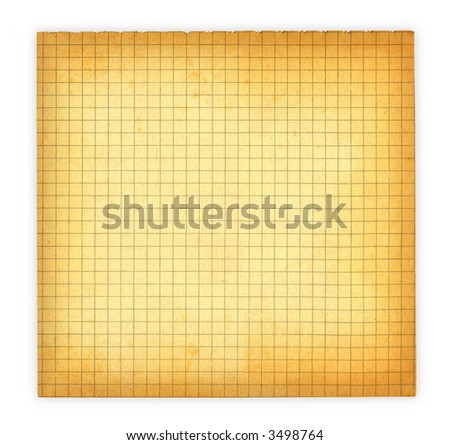 piece of old squared paper isolated on white - stock photo