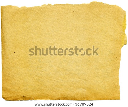 Piece of old tattered paper isolated from background. High detailed this image - stock photo