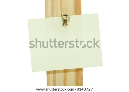 Piece of paper hang on wood screw: space for your text - stock photo