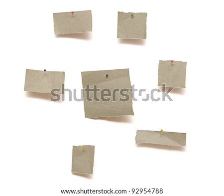 piece of paper pinned to white background with shadow