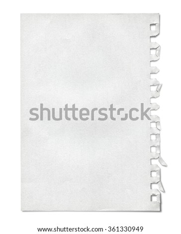 Piece of paper ripped form a notebook. Isolated on white. Clipping path included. - stock photo