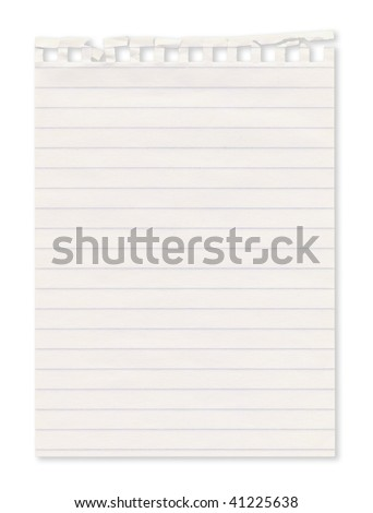 Piece of paper ripped form a notebook. Isolated on white. Clipping path included.