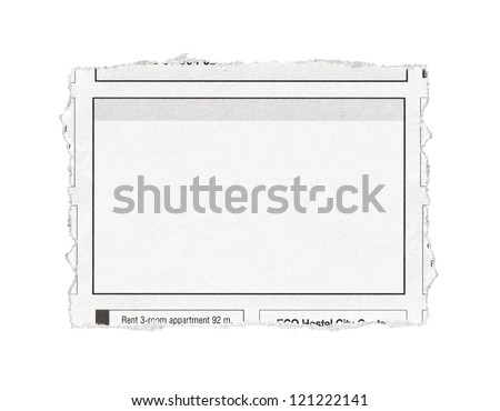 Piece of paper with advertisement space torn out from newspaper. Isolated on white. - stock photo