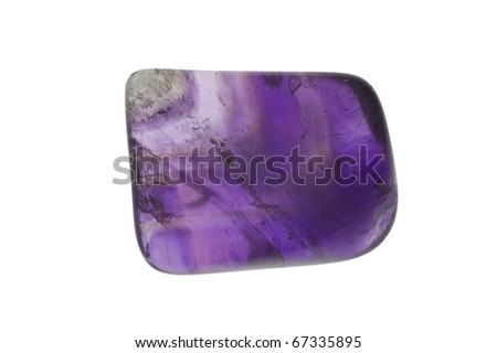 Piece of polished amethyst isolated on white. - stock photo