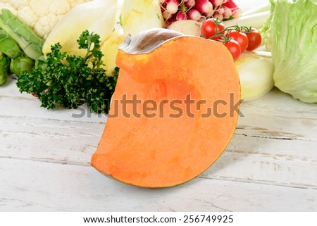 piece of pumpkin with different vegetables - stock photo