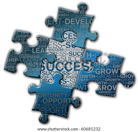 Piece of puzzle of the success, growth, development, opportunity, and leadership. - stock photo