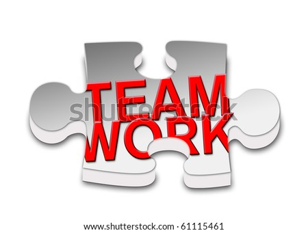 Piece of puzzle to the work teams. - stock photo
