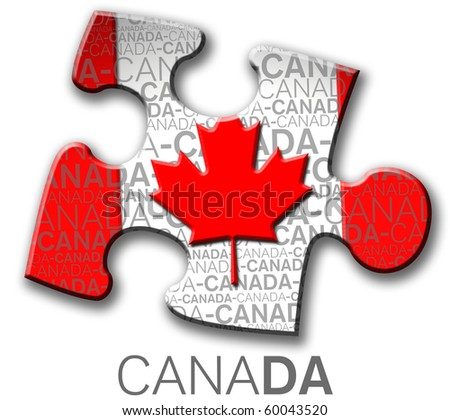 Piece of puzzle with the canadian flag. - stock photo