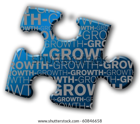 Piece of puzzle with the word growth - stock photo