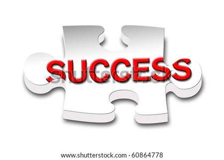 Piece of puzzle with the word success. - stock photo