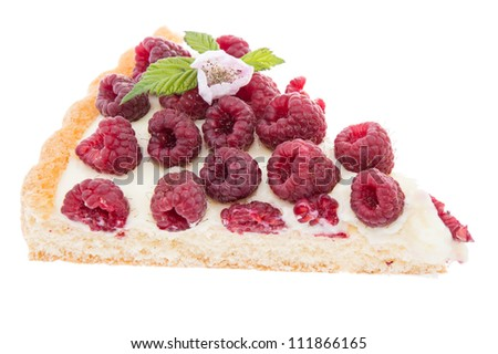 Piece of Raspberry Tart isolated on white background