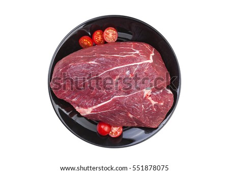 Piece of raw beef isolated on white background, top view