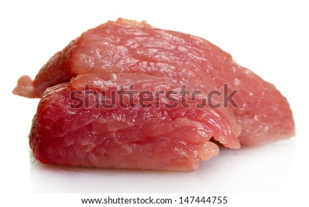 Piece of raw meat isolated on white - stock photo