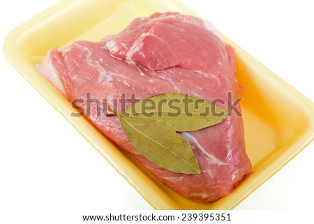 Piece of raw meat of pork, isolated on white background - stock photo