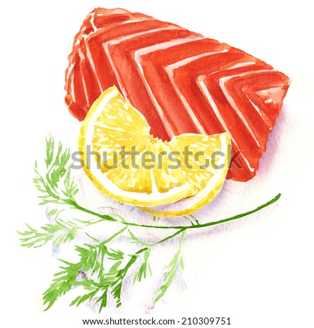 piece of red fish fillet with lemon - stock photo