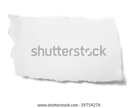 piece of ripped white paper on white background - stock photo