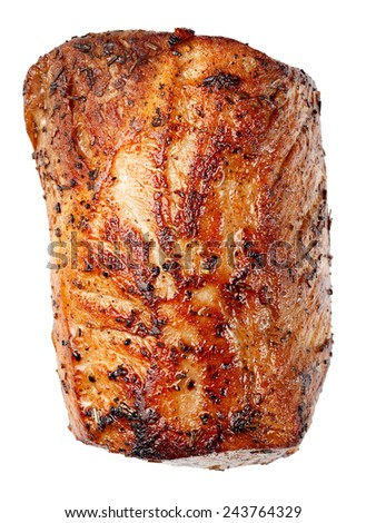 Piece of roasted pork isolated on white background - stock photo