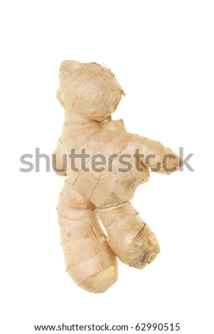 Piece of root ginger isolated on white - stock photo