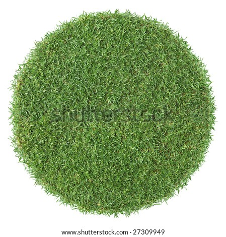piece of round shape grass isolated as background - stock photo