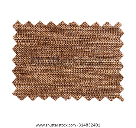 Piece of sample color fabric isolated on white background