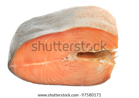 Piece of smoked salmon on white background