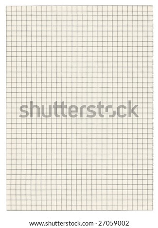 piece of squared paper on white - stock photo