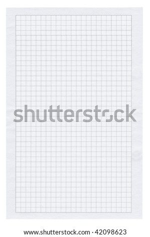 piece of squared paper on white background