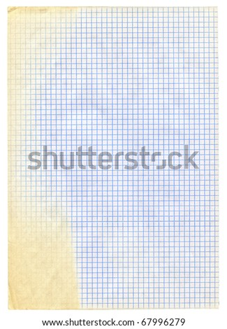piece of squared paper on white background, the yellowing is naturally created by exposure to sunlight - stock photo